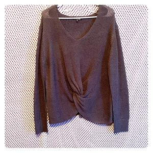 Charlotte Russe Plus Blue Knitted Cropped Sweater